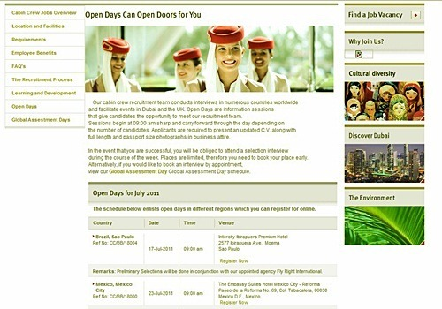 Emirates Open Days Schedule August 2011 Cabin Crew