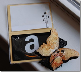 Collaged Butterfly Gift Card Holder Open