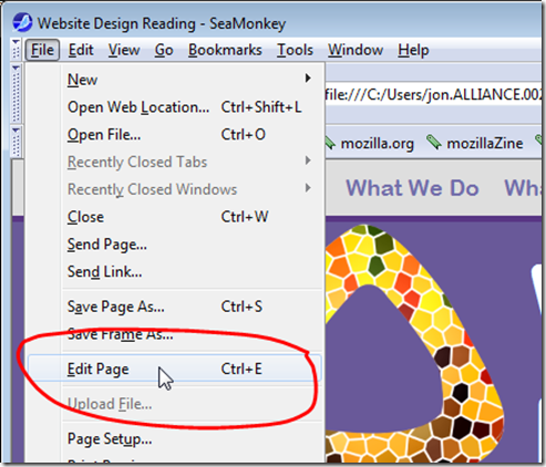 Select Edit Page from the File menu