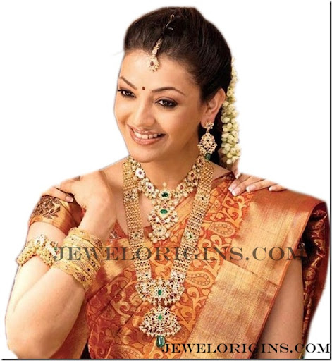 South Indian actress Kajal Agrawal with designer bridal necklacebangles and