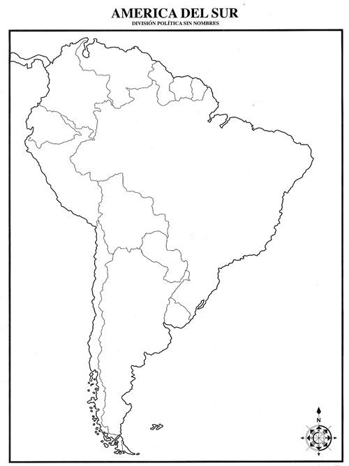 Mapa de América del Sur con división política sin nombres