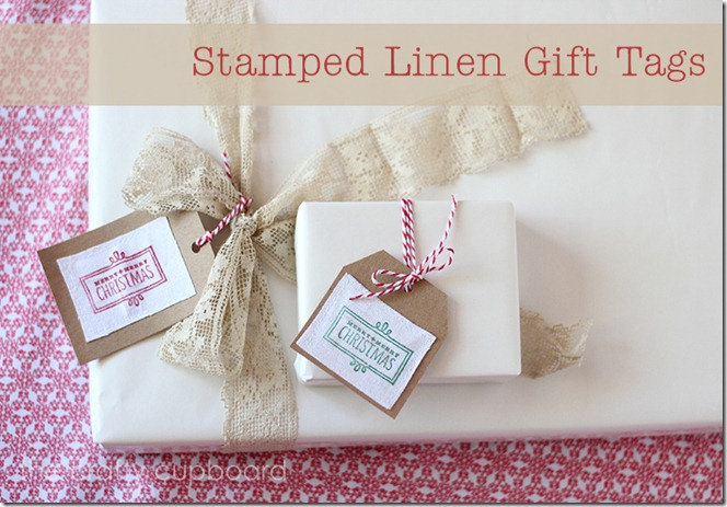 Stamped Linen Gift Tags by the Crafty Cupboard