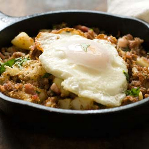 Corned beef hash with chipotle chiles and Irish bacon