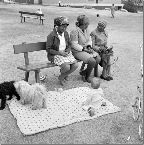 David Goldblatt -- - Baby with childminders and dogs in the Alexandra Street Park, Hillbrow, Johannesburg, 1972