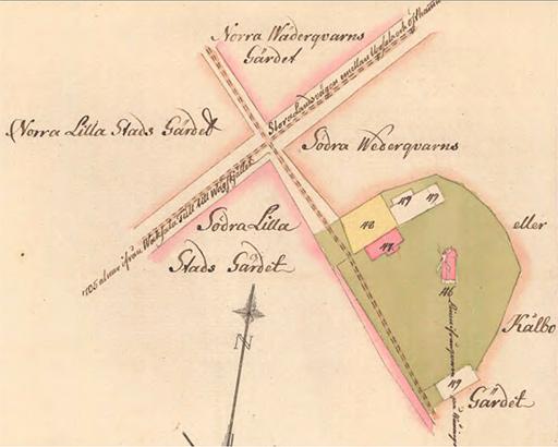 Väderkvarnen. Del av karta över Uppsala bränneri i Ulleråker 1788.