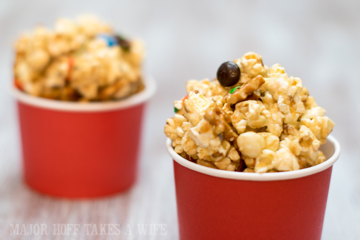 Movie Munch popcorn snack mix for movie night snacks. It's time for a Family Movie Night! You won't want to miss this recipe for the fabulous Movie Munch! Can you guess what the secret ingredient is? Post also shows how to create your own Guardians of the Galaxy Gift Basket, perfect for your favorite super hero fans, or for a Finals Survival kit. #OwnTheGalaxy #CBias #sp #ad