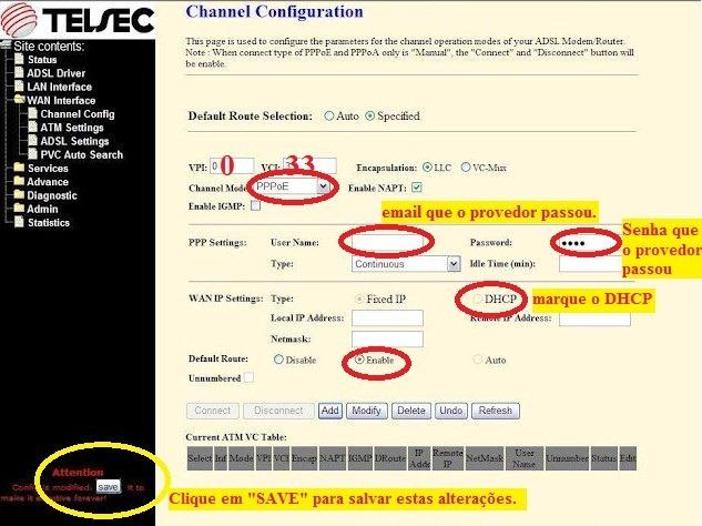 Modem TELSEC TS-9000; como configurar, rotear e os detalhes do roteador para conectar automaticamente na internet Oi-VELOX - 3