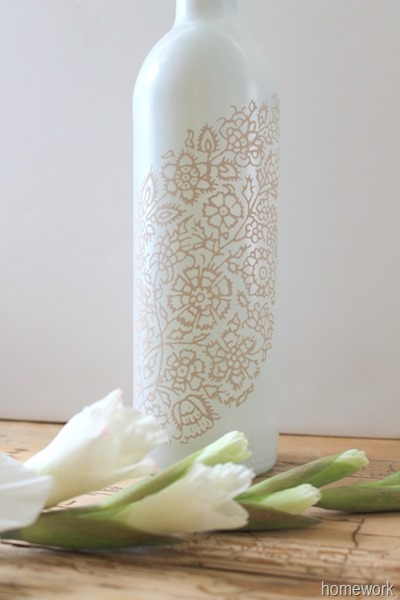 White & Ecru Lace Stenciled Bottle via homework (1)