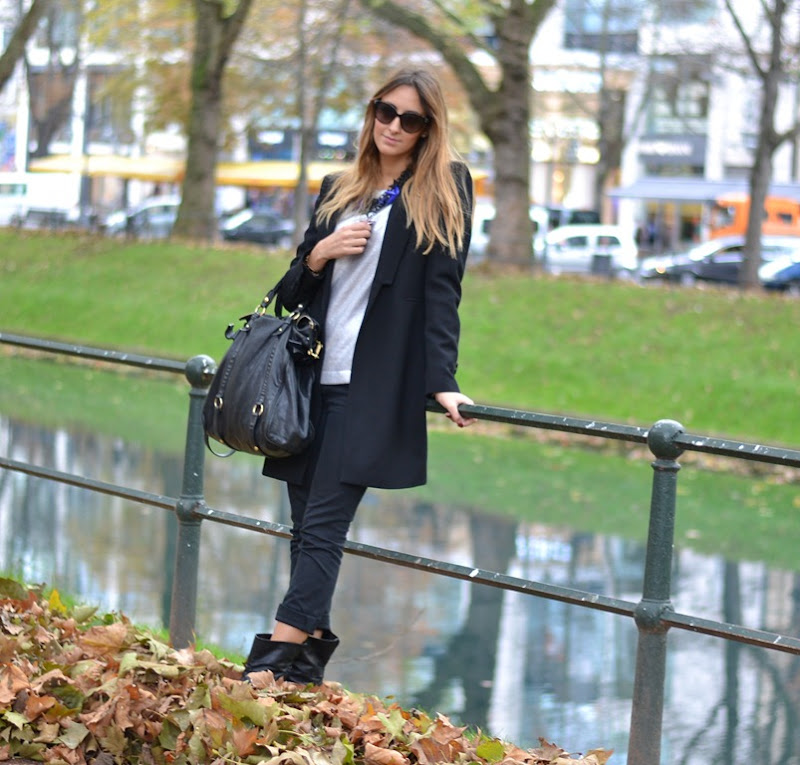 Dusseldorf, Germany, Zara Coat, Valentino Sunglasses, Zara Neklace, Miu Miu Bag, Fashion Blogger, Italian fashion Bloggers, Strategia Biker Boots, Strategia Boots, Dondup, Dondup Trousers
