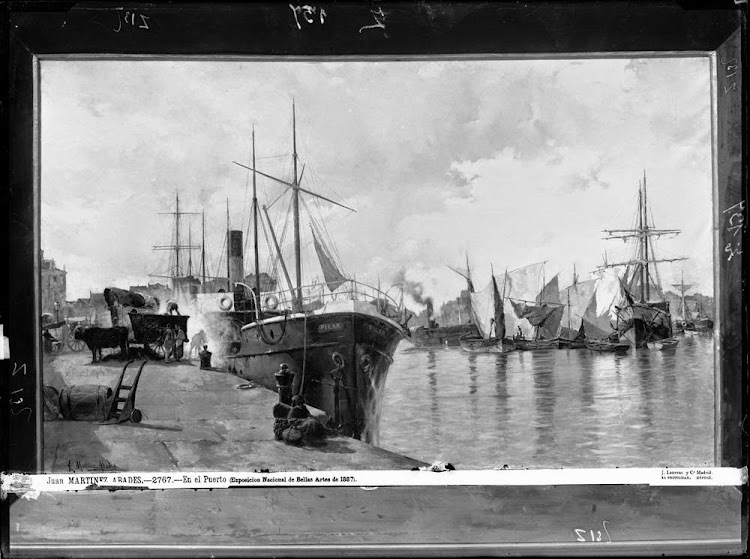 En el puerto. Cuadro de Juan Martinez Abades mostrando al PILAR. De la web BNE.jpg