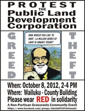 Maui Monday, Oct 8 - PLDC PROTEST RALLY - 2-4PM Maui