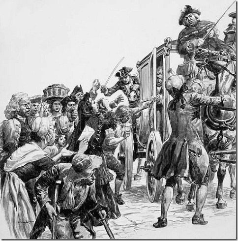 Riots broke out whenever the directors of the South Sea Company were seen in public. Illustration by C. L. Doughty