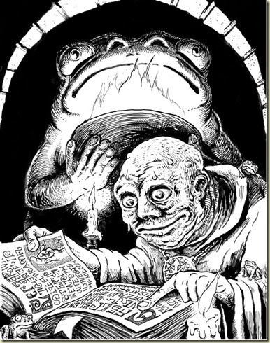 Stefan Poag - frog cultist from Goodman's DCC RPG, pg 329