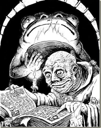 Stefan Poag - frog cultist from Goodman's DCC RPG, pg 329