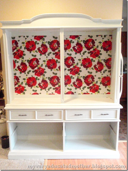 hutch, china cabinet, no shelves, repurposed, recycled