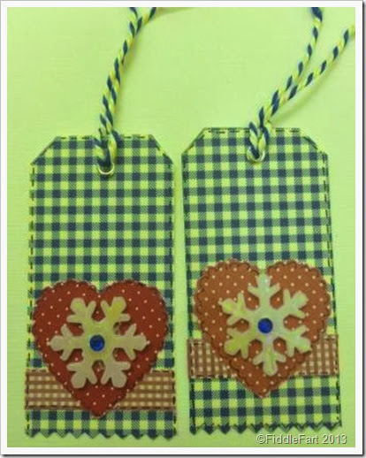 blue gingham snowflake gift tags