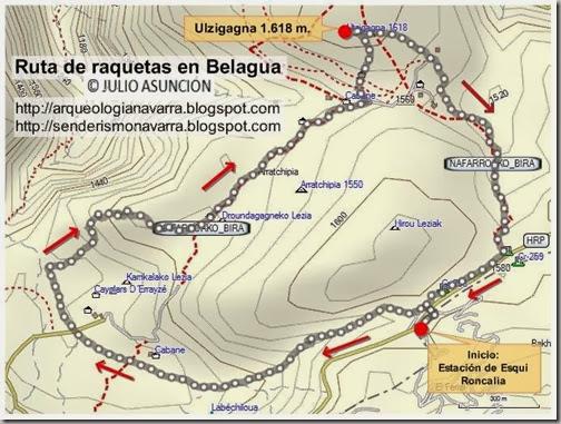 Mapa ruta con raquetas en Belagua