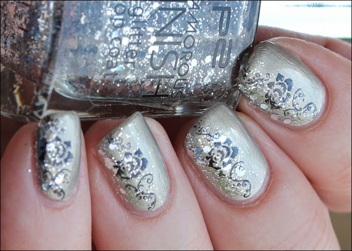 Elegant Grey Nageldesign Nail Art Rose Glitter 7