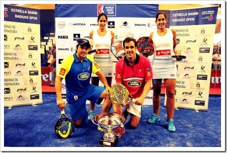 Campeones WPT Estrella Damm Open Badajoz 2014: Martín Díaz-Belasteguín y las hermanas Sánchez Alayeto.