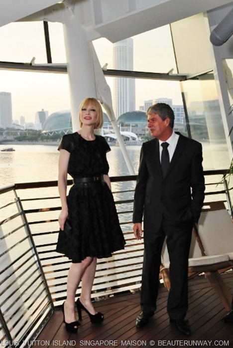Cate Blanchett Louis Vuitton Island Maison Singapore Private deck Yves Carcelle with Swissotel Esplanade