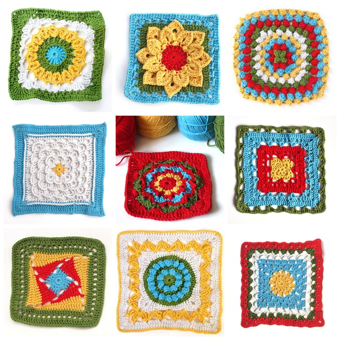 the squares from the crochet along