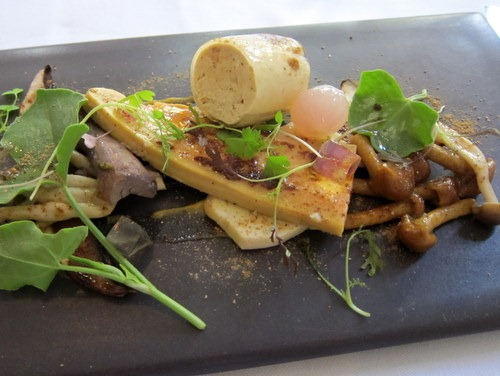 Cured Foie Gras, pickled mushrooms, foie gras mousse, cep dressing