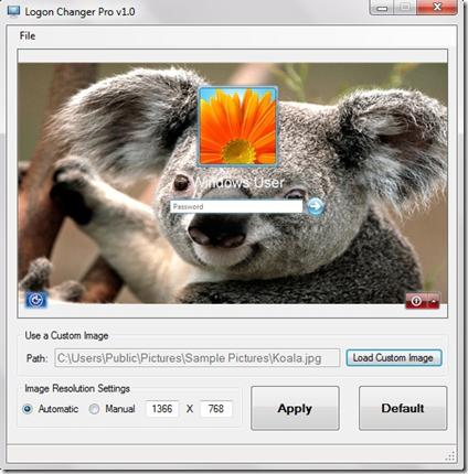 Logon Changer Pro sfondo personalizzato
