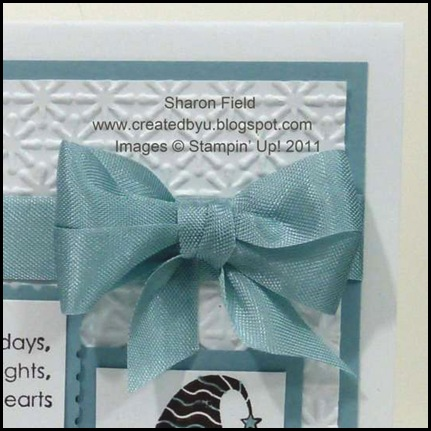 CAS, Merry_and_bright, Christmas, Clean_and_simple, Sharon_field, Createdbyu_blogspot, Double_loop_bow, seam_binding, markers, snow_burst, textured_impressions, embossing, embossing_folder, big_shot, postage_Stamp_punch, one_inch_Square_punch, baja_breeze, Pear_pizzazz, Stampin_up, shop_online, online_store