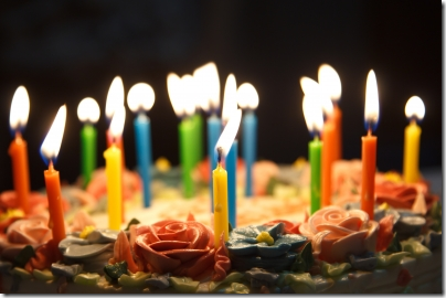 Photograph of candles on a birthday cake