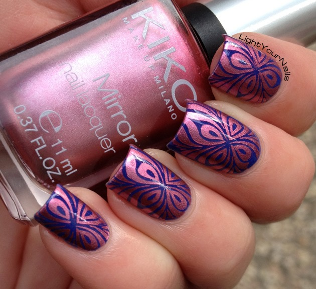 Blue and pink nail stamping with BP-L005 plate
