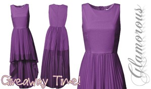 Giveaway Glamorous Purple Dip Hem Pleated Skater Dress_thumb