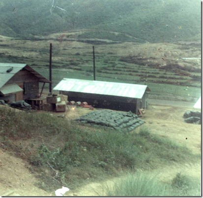 center, supply office-rice paddies in bkgrnd where R engaged enemy Feb 23 1969