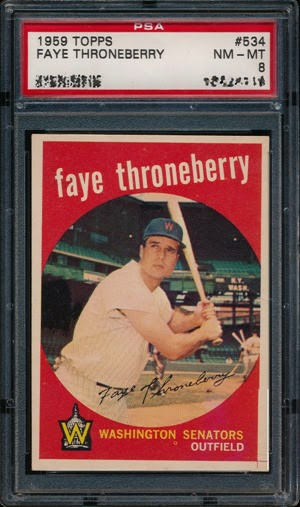 1959 Topps 534 Faye Throneberry red