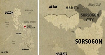 Sorsogon City and Manito Location Map