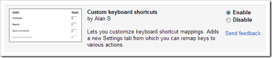 Custom keyboard shortcuts