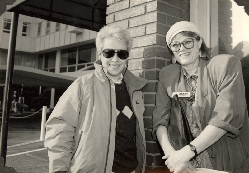 Eloise Klein Healy and Carolyn Weathers at the OutWrite Conference in San Francisco. May 3-4, 1990.
