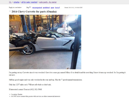 Wrecked Corvette Craigslist Autos Weblog