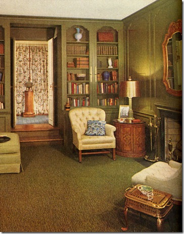 An east-coaster feels more at home in an environment that is rich with tradition, such as the wood-paneled room below. Note that, its details evoke a sense of the past. Featured in the October 1962 issue.