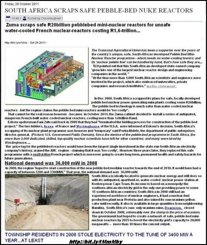 NUCLEAR SOUTH AFRICA SCRAPS PEBBLEBED IN FAVOUR OF UNSAFE FRENCH TECHNOLOGY OCT 2011