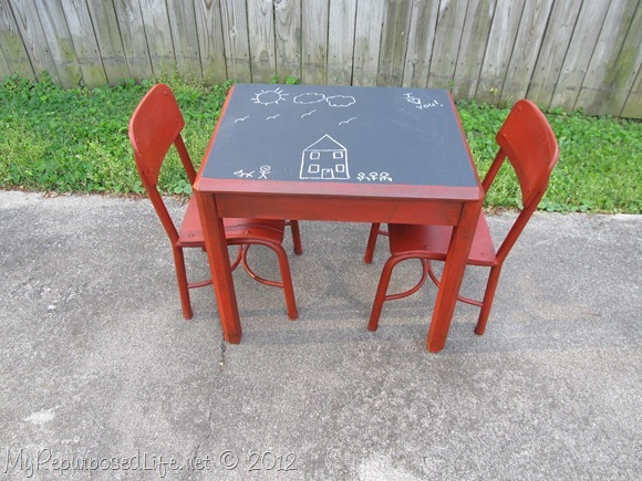 Kids Chalkboard table & chairs (4)