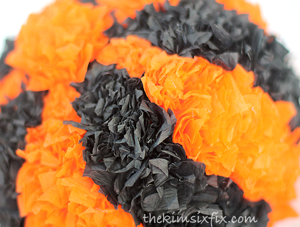 Crepe paper covered pumpkin
