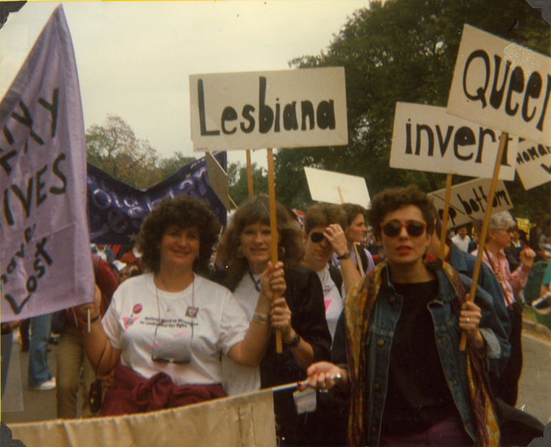 Joan Nestle, Carolyn Weathers and other lesbian women at March on Washington for Lesbian and Gay Rights, 1987.