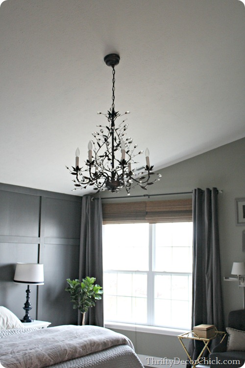 chandelier in bedroom
