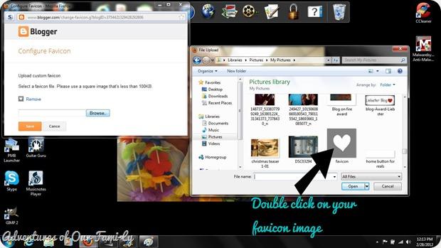 screen shot favicon upload location