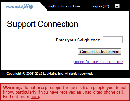 Proposed warning on the LogMeIn page