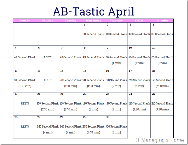 Ab-Tastic April Monthly Workout