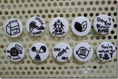 GMO fridge magnet / badge