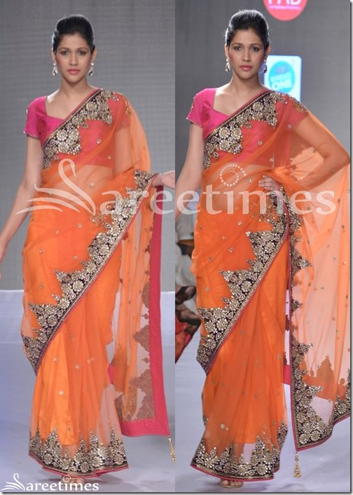 Vikram_Phadnis_Orange_Net_Saree