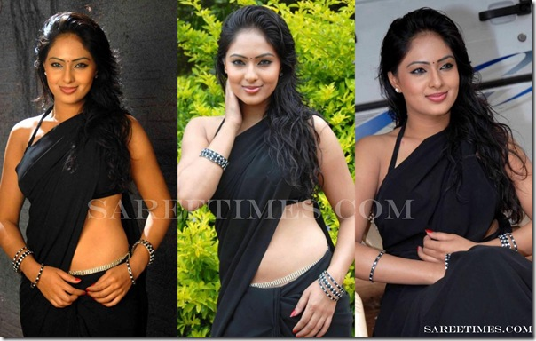 Nikesha_Patel_Black_Saree
