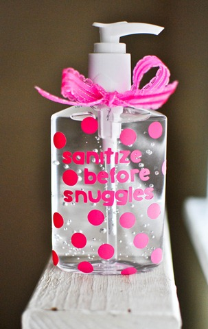 sanitize before snuggles baby girl gift